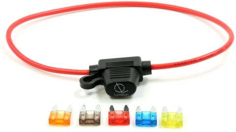 16 AWG Mini Blade Style APM ATM Fuse Holder Car / Boat + 5, 7.5, 10, 15, 20A Fuse Set
